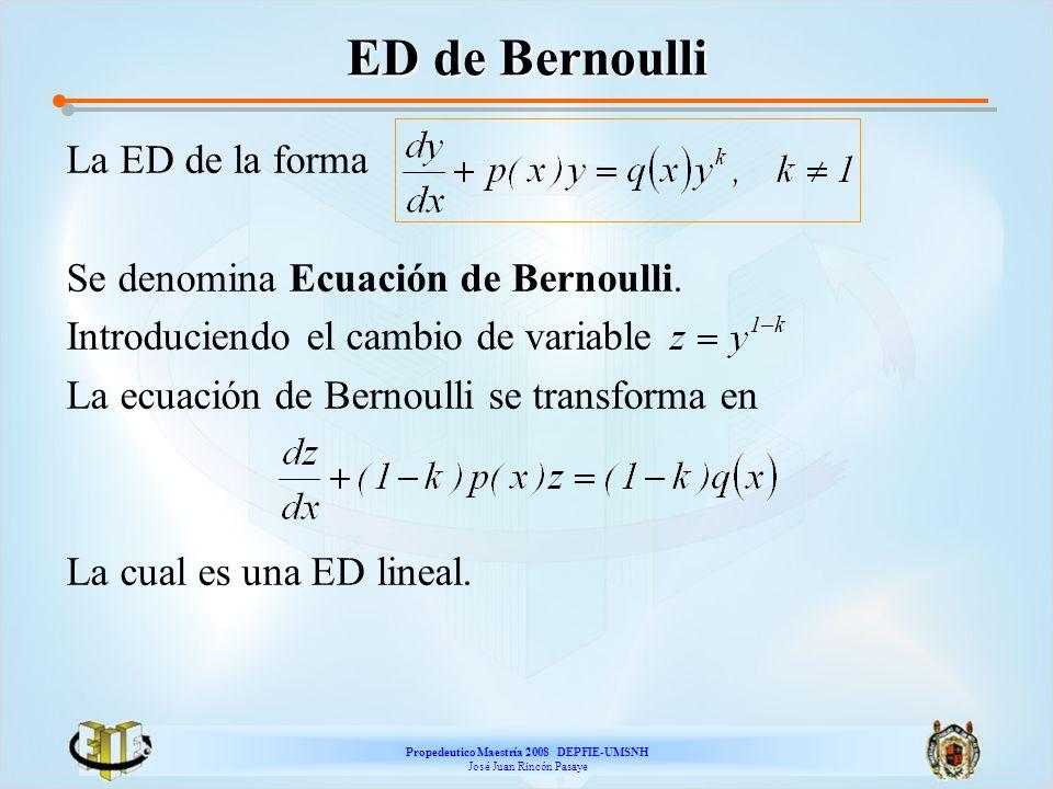 Propedeutico Maestría 2008 DEPFIE-UMSNH José Juan Rincón Pasaye ED de Bernoulli La ED de la forma Se denomina Ecuación de Bernoulli. Introduciendo el
