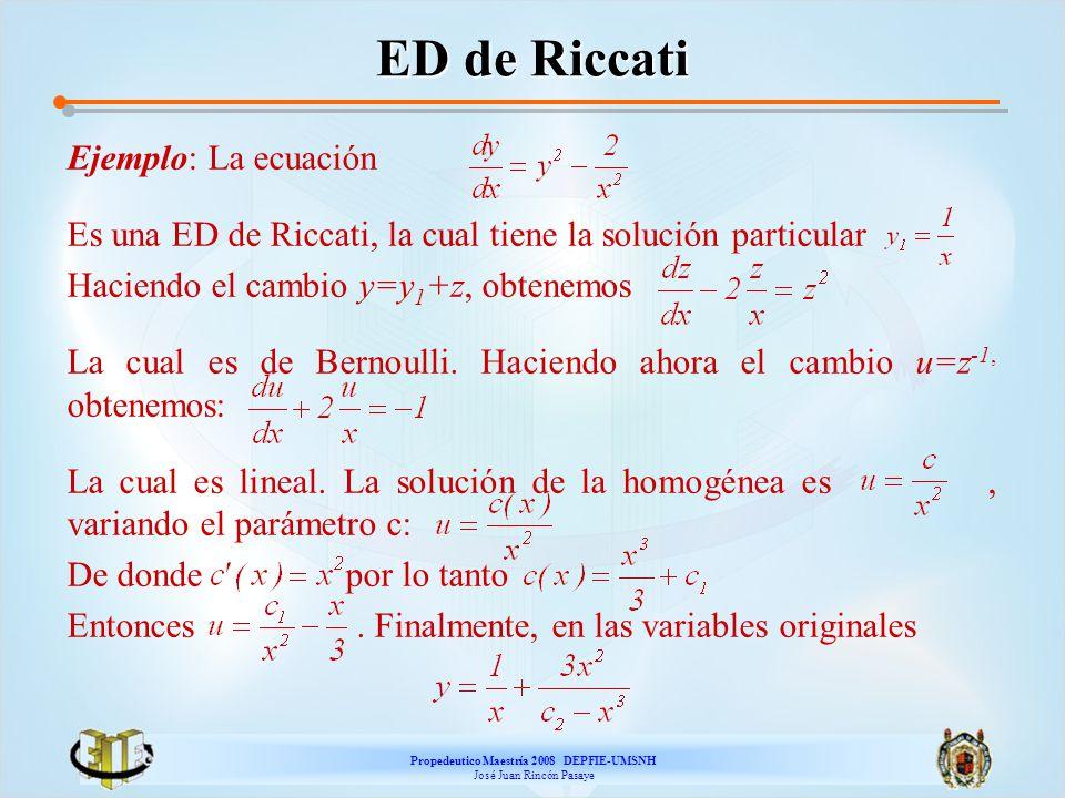 Propedeutico Maestría 2008 DEPFIE-UMSNH José Juan Rincón Pasaye ED de Riccati Ejemplo: La ecuación Es una ED de Riccati, la cual tiene la solución par