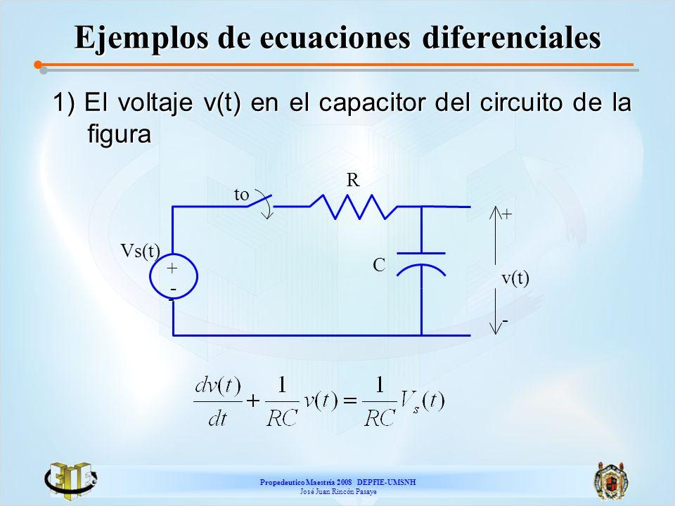 Propedeutico Maestría 2008 DEPFIE-UMSNH José Juan Rincón Pasaye Ejemplos de ecuaciones diferenciales 1) El voltaje v(t) en el capacitor del circuito d