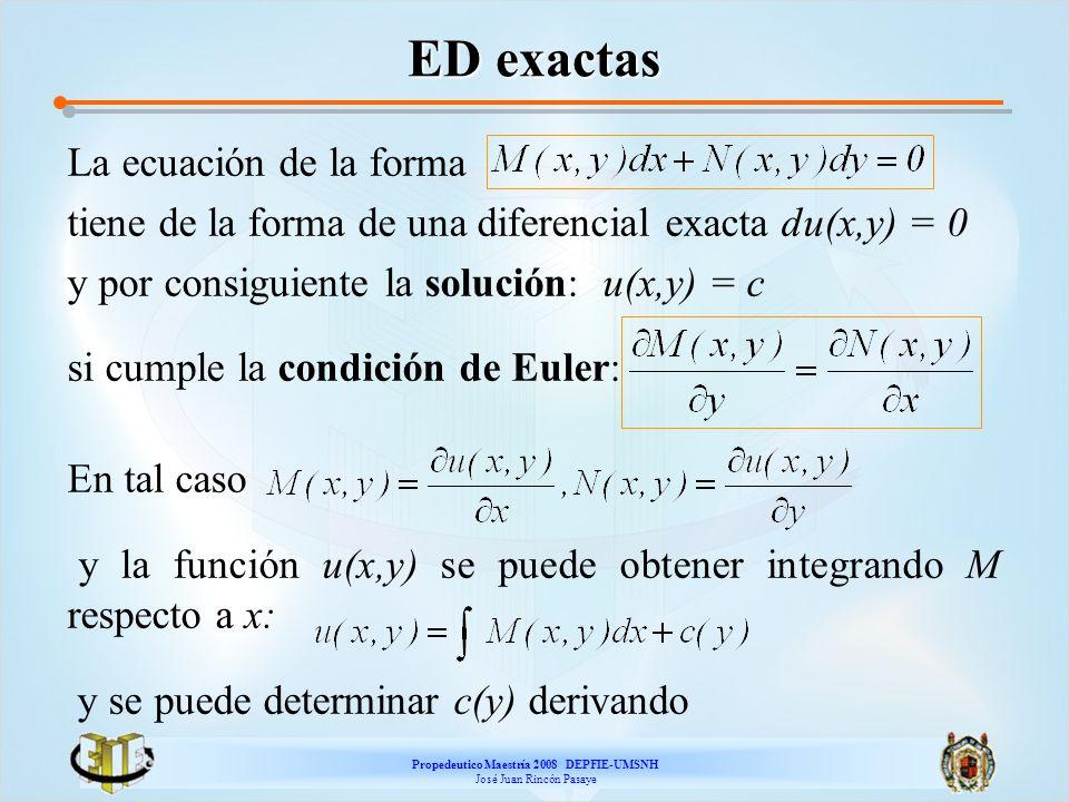 Propedeutico Maestría 2008 DEPFIE-UMSNH José Juan Rincón Pasaye ED exactas La ecuación de la forma tiene de la forma de una diferencial exacta du(x,y)