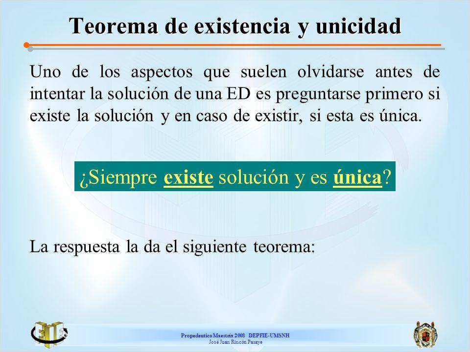 Propedeutico Maestría 2008 DEPFIE-UMSNH José Juan Rincón Pasaye Teorema de existencia y unicidad Uno de los aspectos que suelen olvidarse antes de int