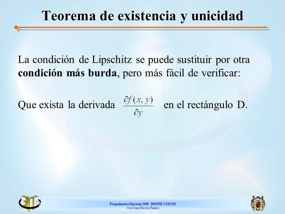 Propedeutico Maestría 2008 DEPFIE-UMSNH José Juan Rincón Pasaye Teorema de existencia y unicidad La condición de Lipschitz se puede sustituir por otra