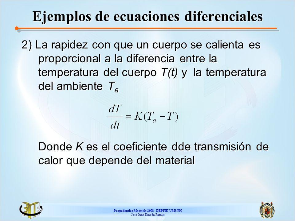 Propedeutico Maestría 2008 DEPFIE-UMSNH José Juan Rincón Pasaye Ejemplos de ecuaciones diferenciales 2) La rapidez con que un cuerpo se calienta es pr