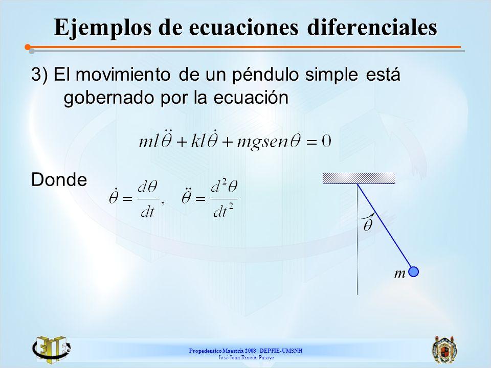 Propedeutico Maestría 2008 DEPFIE-UMSNH José Juan Rincón Pasaye Ejemplos de ecuaciones diferenciales 3) El movimiento de un péndulo simple está gobern