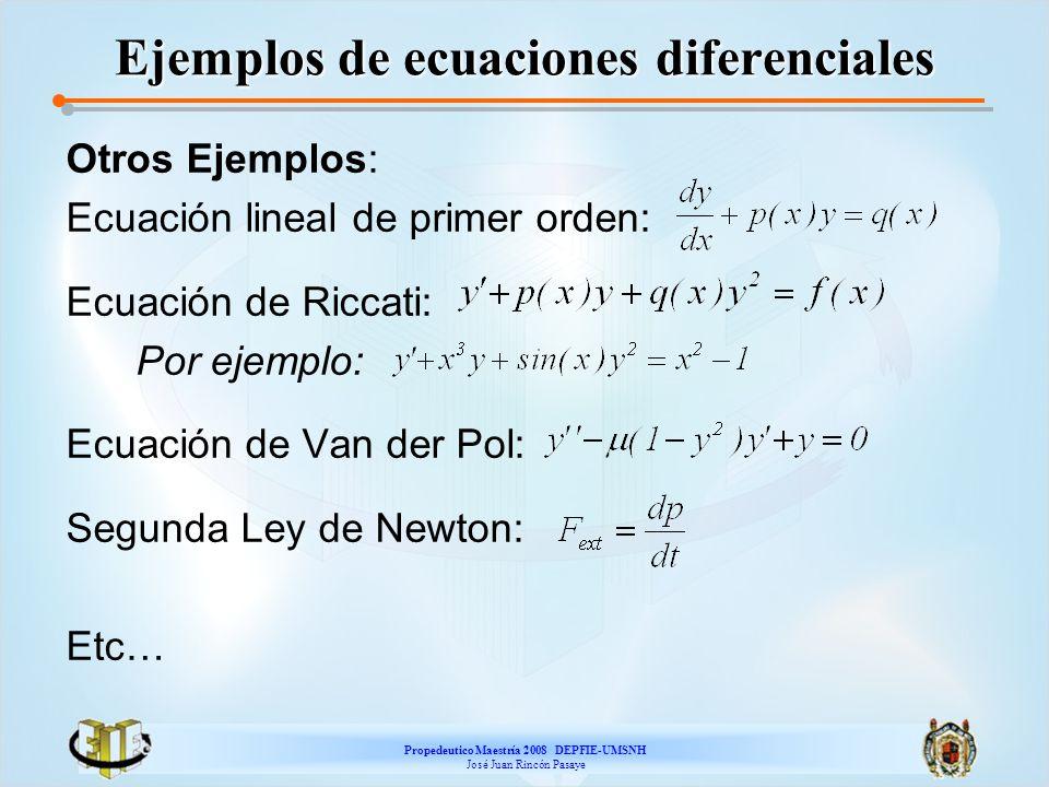Propedeutico Maestría 2008 DEPFIE-UMSNH José Juan Rincón Pasaye ED de Riccati Ejemplo: La ecuación Es una ED de Riccati, la cual tiene la solución particular Haciendo el cambio y=y 1 +z, obtenemos La cual es de Bernoulli.
