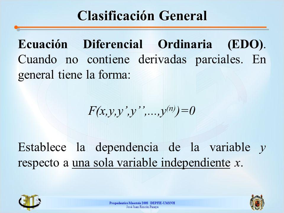 Propedeutico Maestría 2008 DEPFIE-UMSNH José Juan Rincón Pasaye Clasificación General Ecuación Diferencial Ordinaria (EDO). Cuando no contiene derivad