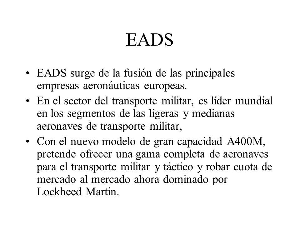 EADS EADS surge de la fusión de las principales empresas aeronáuticas europeas. En el sector del transporte militar, es líder mundial en los segmentos