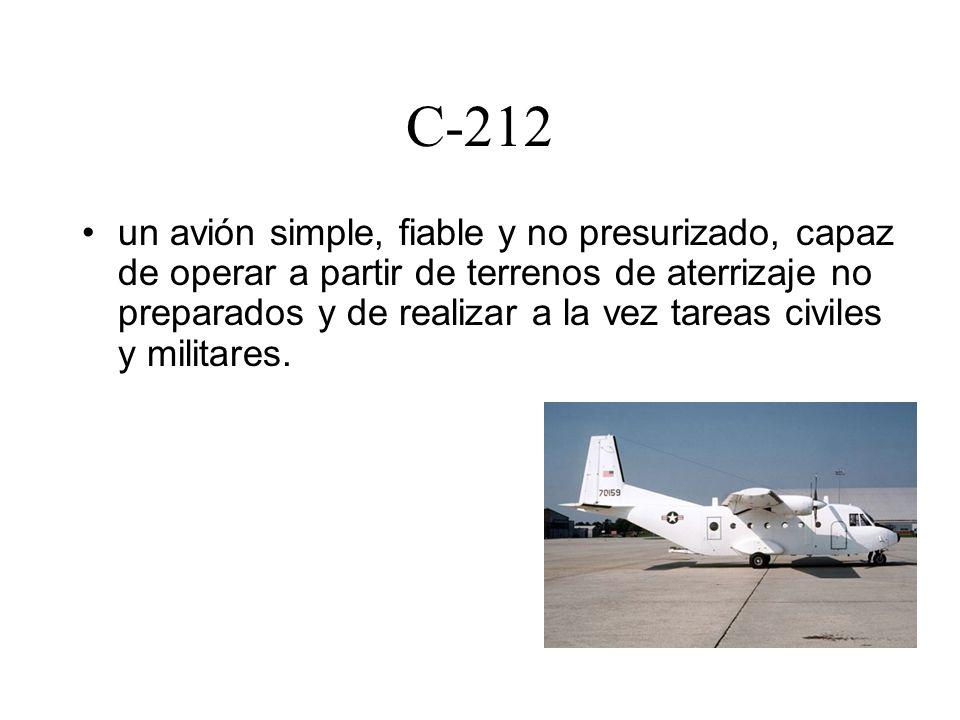 C-212 un avión simple, fiable y no presurizado, capaz de operar a partir de terrenos de aterrizaje no preparados y de realizar a la vez tareas civiles