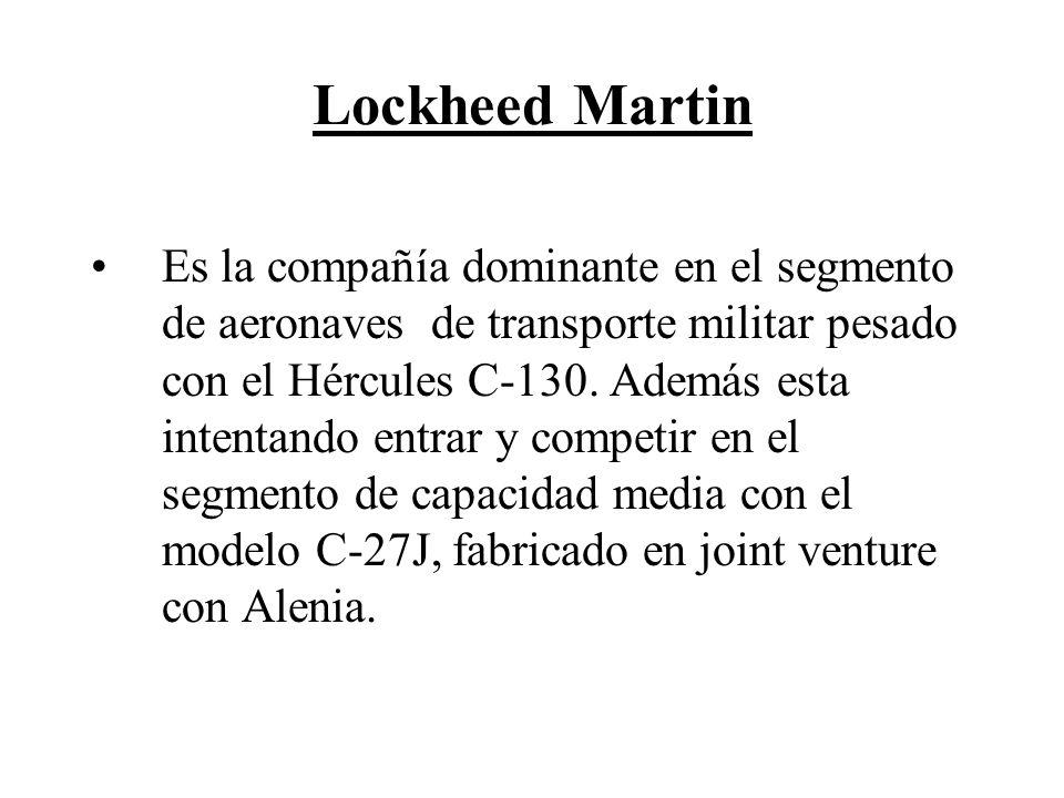 Lockheed Martin Es la compañía dominante en el segmento de aeronaves de transporte militar pesado con el Hércules C-130. Además esta intentando entrar