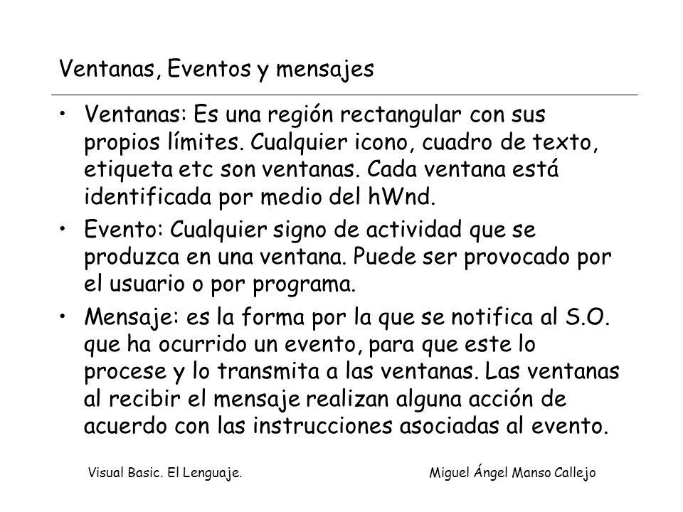 Visual Basic. El Lenguaje. Miguel Ángel Manso Callejo Ventanas, Eventos y mensajes Ventanas: Es una región rectangular con sus propios límites. Cualqu