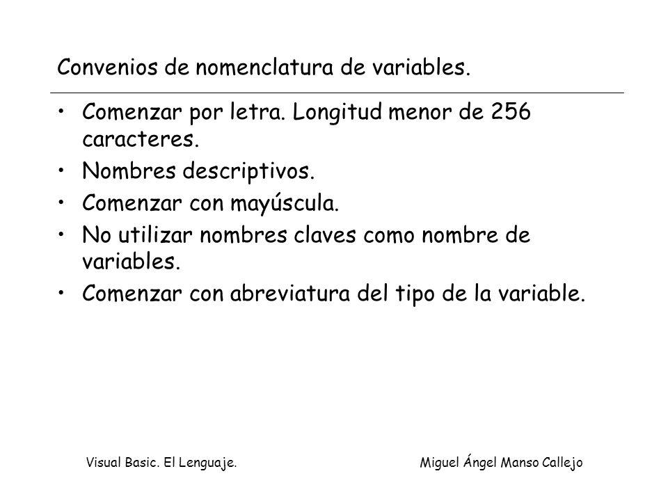 Visual Basic. El Lenguaje. Miguel Ángel Manso Callejo Convenios de nomenclatura de variables. Comenzar por letra. Longitud menor de 256 caracteres. No