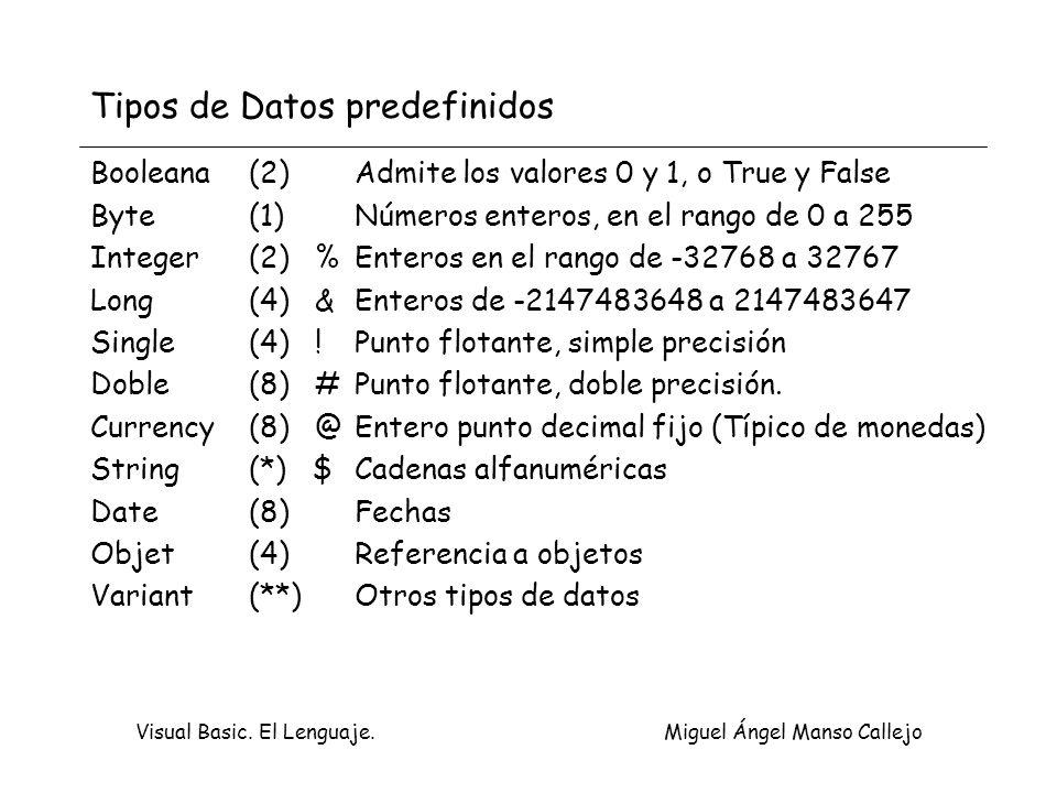 Visual Basic. El Lenguaje. Miguel Ángel Manso Callejo Tipos de Datos predefinidos Booleana(2)Admite los valores 0 y 1, o True y False Byte(1)Números e