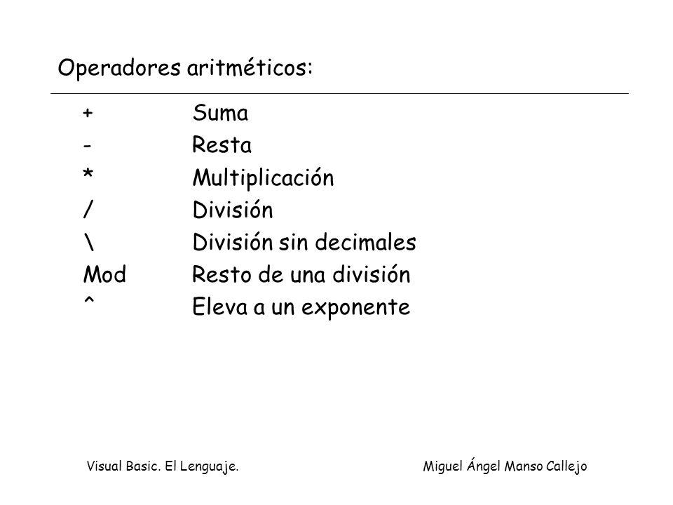 Visual Basic. El Lenguaje. Miguel Ángel Manso Callejo Operadores aritméticos: +Suma -Resta *Multiplicación /División \División sin decimales ModResto