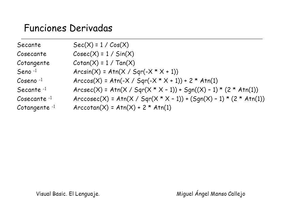 Visual Basic. El Lenguaje. Miguel Ángel Manso Callejo Funciones Derivadas Secante Sec(X) = 1 / Cos(X) CosecanteCosec(X) = 1 / Sin(X) CotangenteCotan(X