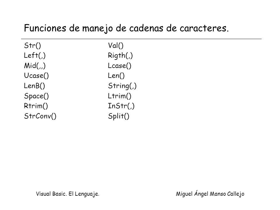 Visual Basic. El Lenguaje. Miguel Ángel Manso Callejo Funciones de manejo de cadenas de caracteres. Str()Val() Left(,)Rigth(,) Mid(,,)Lcase() Ucase()L