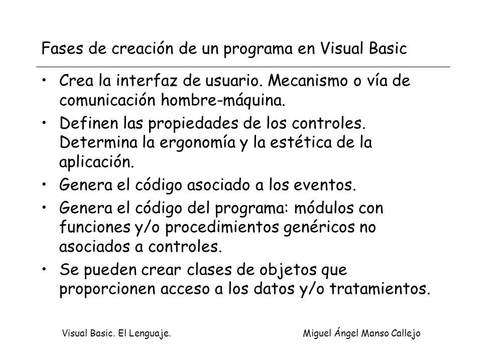 Visual Basic. El Lenguaje. Miguel Ángel Manso Callejo Fases de creación de un programa en Visual Basic Crea la interfaz de usuario. Mecanismo o vía de