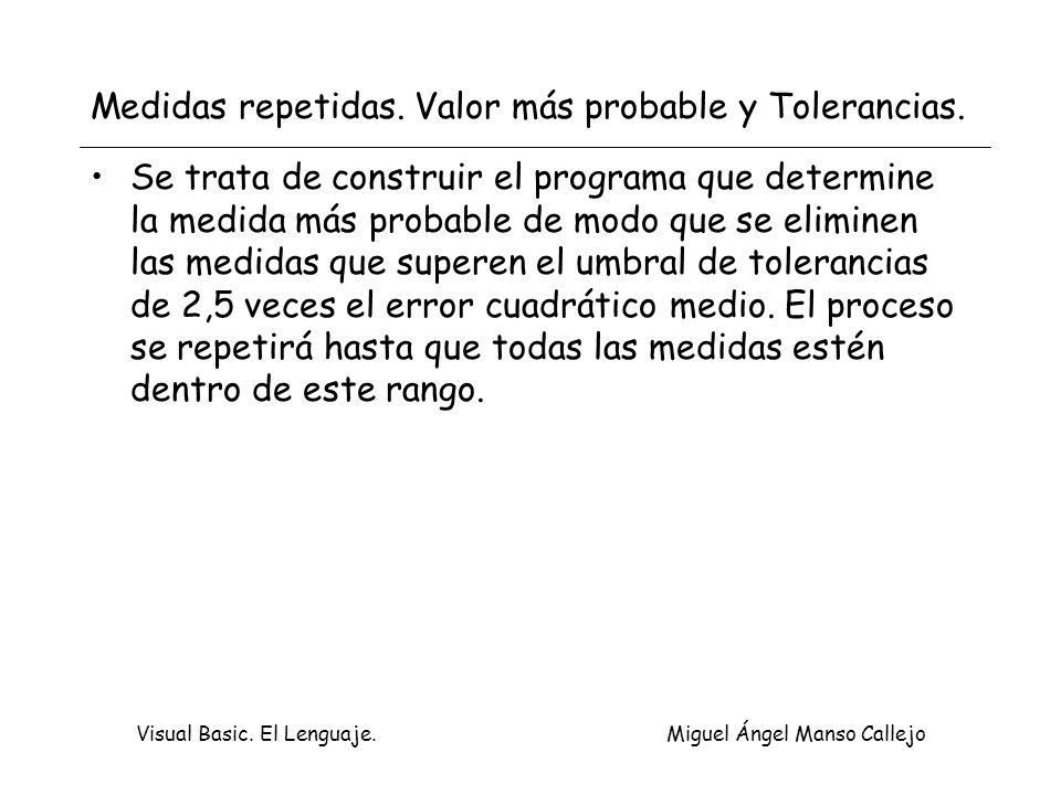 Visual Basic. El Lenguaje. Miguel Ángel Manso Callejo Medidas repetidas. Valor más probable y Tolerancias. Se trata de construir el programa que deter