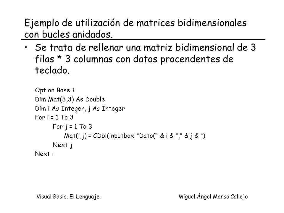 Visual Basic. El Lenguaje. Miguel Ángel Manso Callejo Ejemplo de utilización de matrices bidimensionales con bucles anidados. Se trata de rellenar una