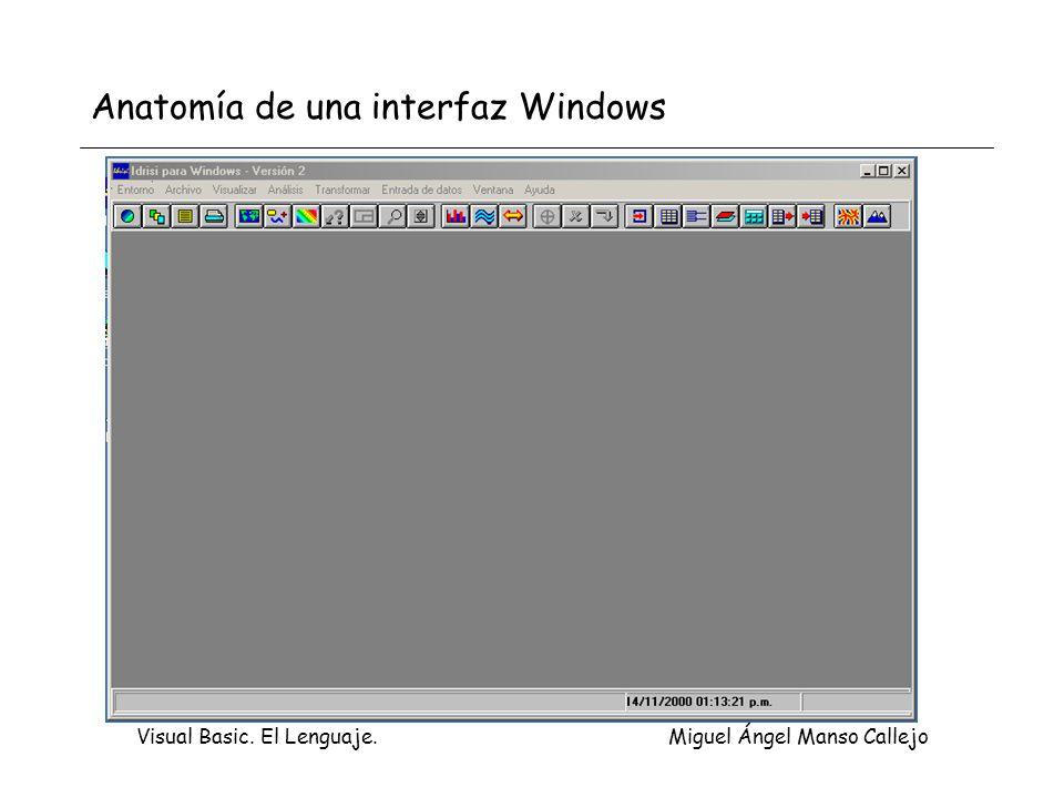 Visual Basic. El Lenguaje. Miguel Ángel Manso Callejo Anatomía de una interfaz Windows