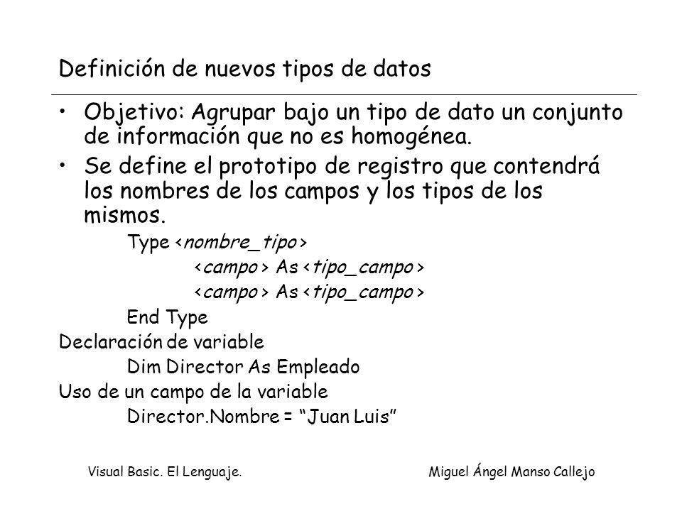 Visual Basic. El Lenguaje. Miguel Ángel Manso Callejo Definición de nuevos tipos de datos Objetivo: Agrupar bajo un tipo de dato un conjunto de inform