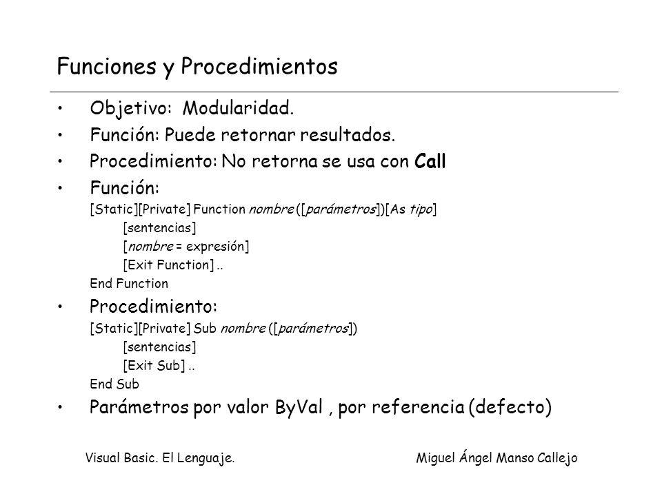 Visual Basic. El Lenguaje. Miguel Ángel Manso Callejo Funciones y Procedimientos Objetivo: Modularidad. Función: Puede retornar resultados. Procedimie