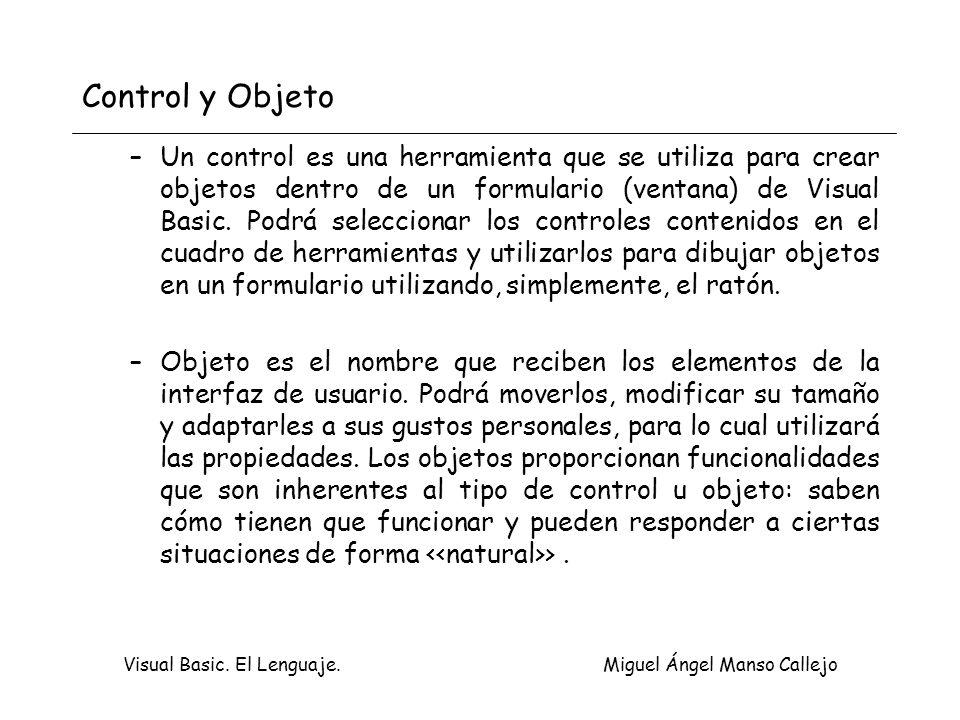 Visual Basic. El Lenguaje. Miguel Ángel Manso Callejo Control y Objeto –Un control es una herramienta que se utiliza para crear objetos dentro de un f