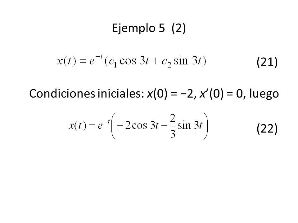 (21) Condiciones iniciales: x(0) = 2, x(0) = 0, luego (22) Ejemplo 5 (2)