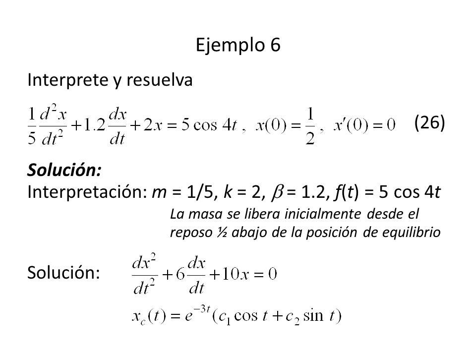 Interprete y resuelva (26) Solución: Interpretación: m = 1/5, k = 2, = 1.2, f(t) = 5 cos 4t La masa se libera inicialmente desde el reposo ½ abajo de la posición de equilibrio Solución: Ejemplo 6