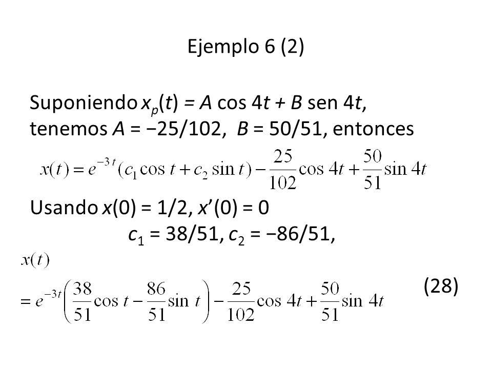 Suponiendo x p (t) = A cos 4t + B sen 4t, tenemos A = 25/102, B = 50/51, entonces Usando x(0) = 1/2, x(0) = 0 c 1 = 38/51, c 2 = 86/51, (28) Ejemplo 6 (2)