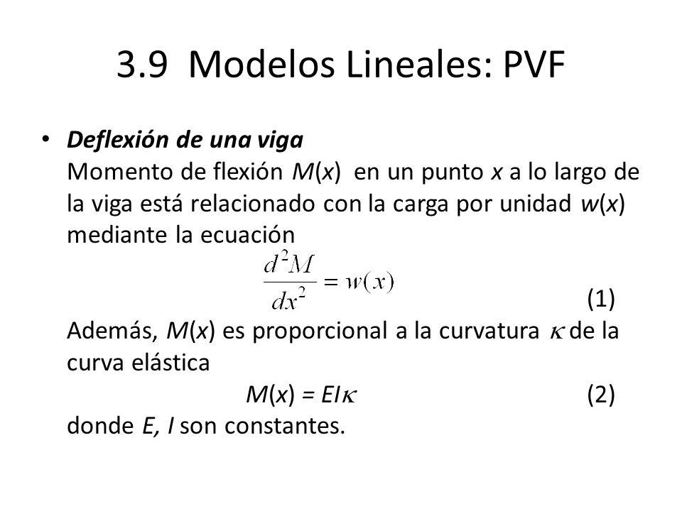 3.9 Modelos Lineales: PVF Deflexión de una viga Momento de flexión M(x) en un punto x a lo largo de la viga está relacionado con la carga por unidad w(x) mediante la ecuación (1) Además, M(x) es proporcional a la curvatura de la curva elástica M(x) = EI (2) donde E, I son constantes.