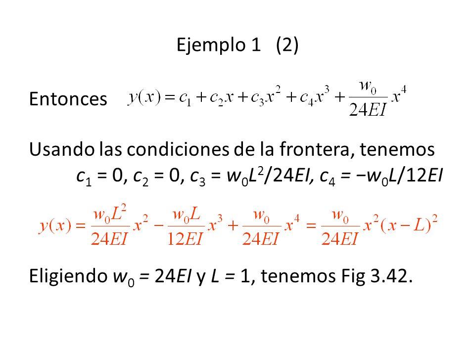 Ejemplo 1 (2) Entonces Usando las condiciones de la frontera, tenemos c 1 = 0, c 2 = 0, c 3 = w 0 L 2 /24EI, c 4 = w 0 L/12EI Eligiendo w 0 = 24EI y L = 1, tenemos Fig 3.42.