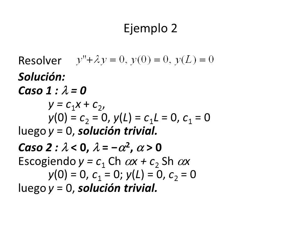 Resolver Solución: Caso 1 : = 0 y = c 1 x + c 2, y(0) = c 2 = 0, y(L) = c 1 L = 0, c 1 = 0 luegoy = 0, solución trivial.