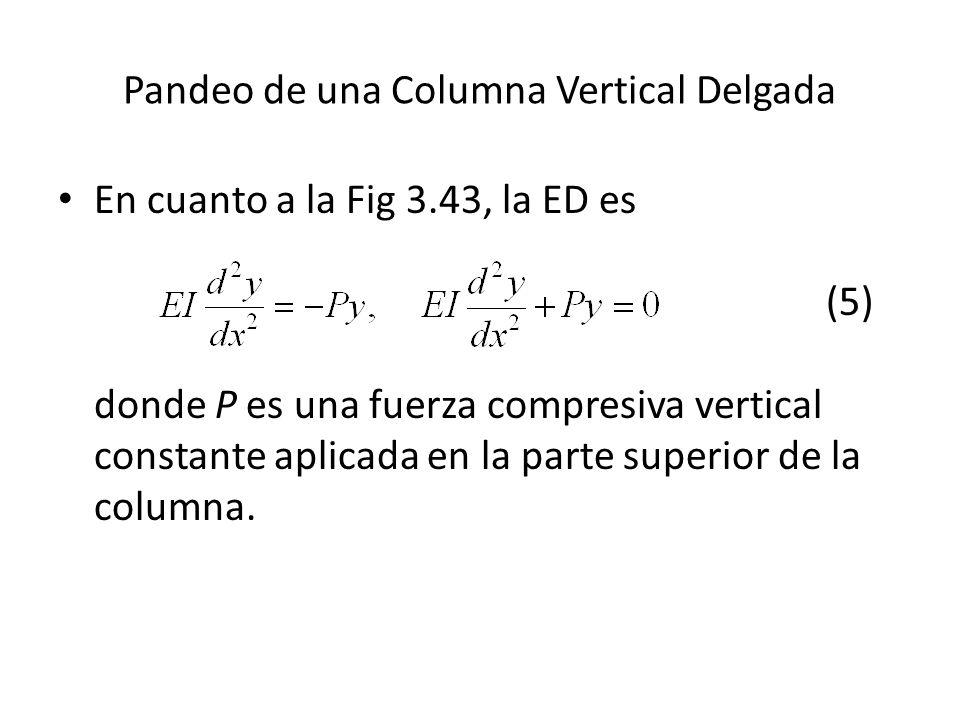 Pandeo de una Columna Vertical Delgada En cuanto a la Fig 3.43, la ED es (5) donde P es una fuerza compresiva vertical constante aplicada en la parte superior de la columna.