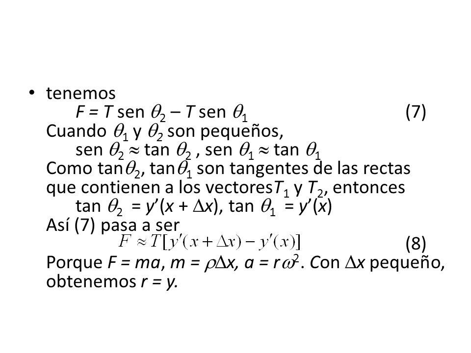tenemos F = T sen 2 – T sen 1 (7) Cuando 1 y 2 son pequeños, sen 2 tan 2, sen 1 tan 1 Como tan 2, tan 1 son tangentes de las rectas que contienen a los vectoresT 1 y T 2, entonces tan 2 = y(x + x), tan 1 = y(x) Así (7) pasa a ser (8) Porque F = ma, m = x, a = r 2.