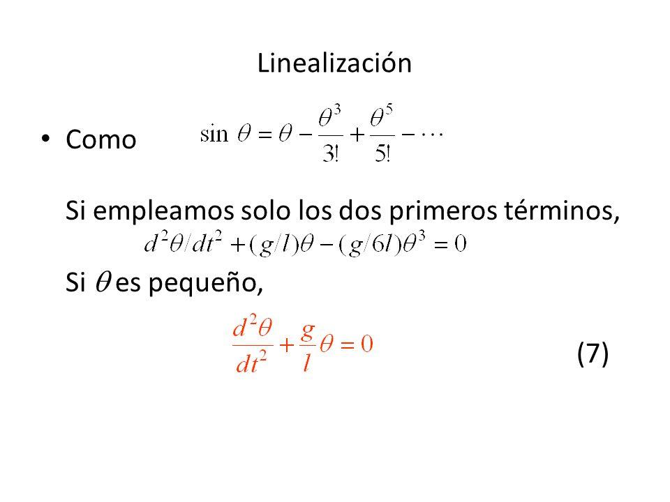 Como Si empleamos solo los dos primeros términos, Si es pequeño, (7) Linealización