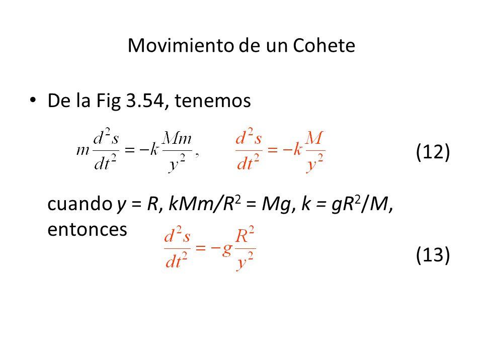 De la Fig 3.54, tenemos (12) cuando y = R, kMm/R 2 = Mg, k = gR 2 /M, entonces (13) Movimiento de un Cohete