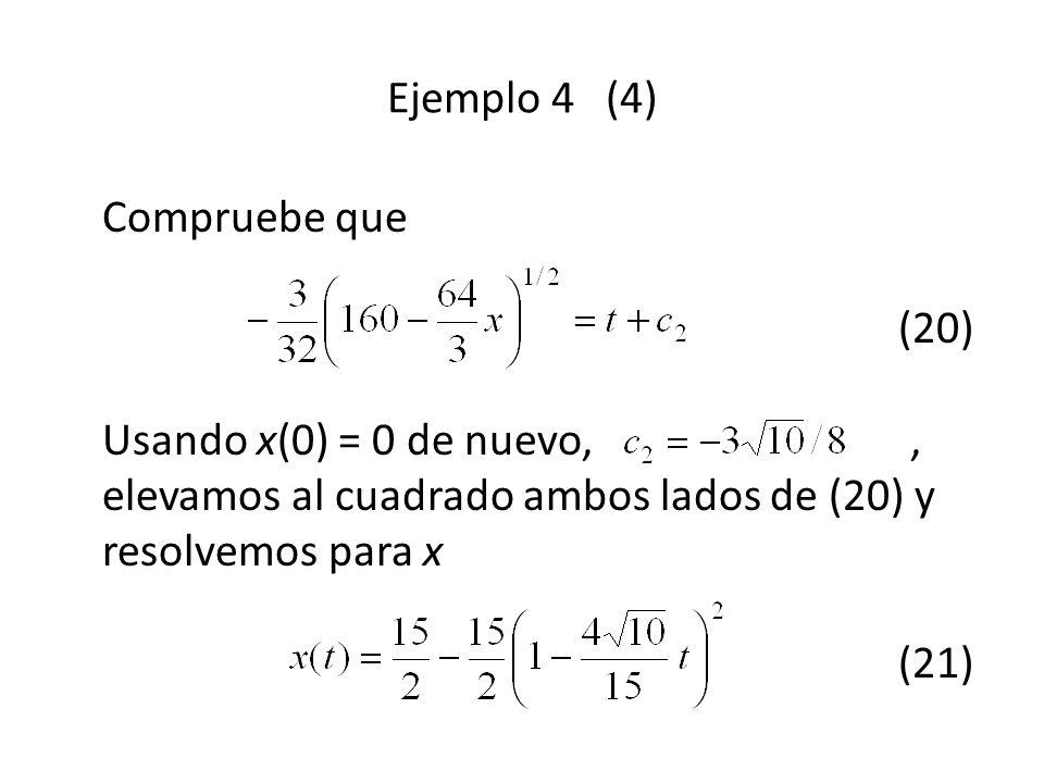Compruebe que (20) Usando x(0) = 0 de nuevo,, elevamos al cuadrado ambos lados de (20) y resolvemos para x (21) Ejemplo 4 (4)