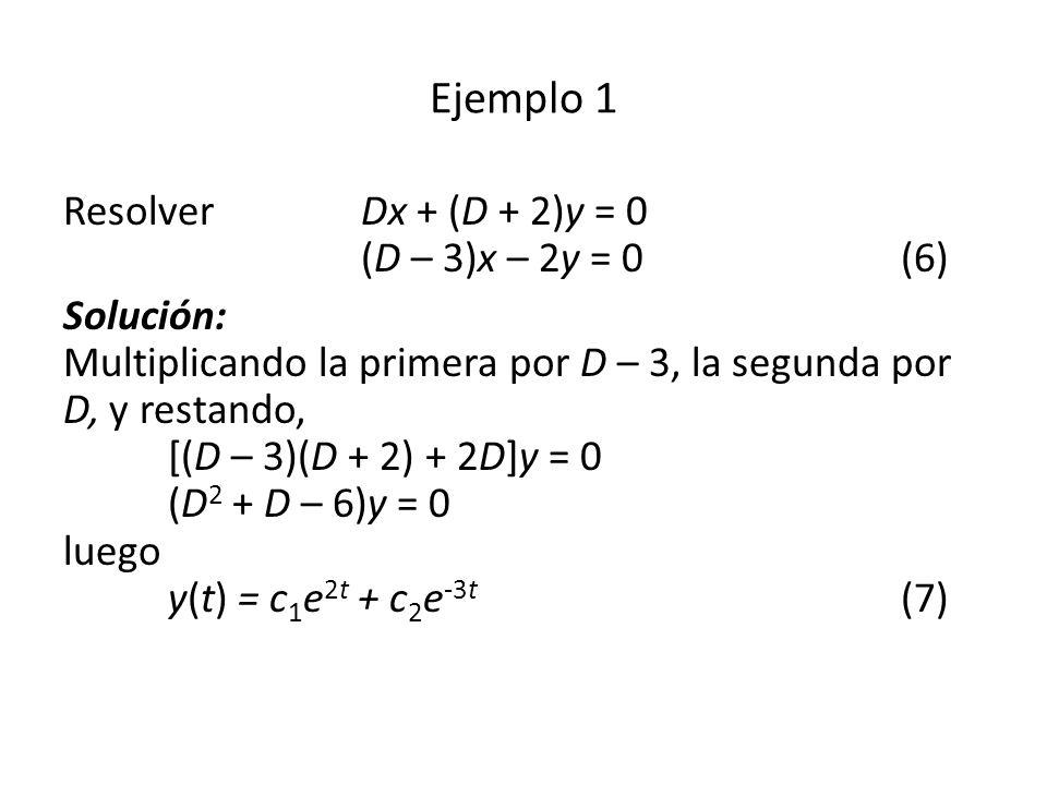 Resolver Dx + (D + 2)y = 0 (D – 3)x – 2y = 0(6) Solución: Multiplicando la primera por D – 3, la segunda por D, y restando, [(D – 3)(D + 2) + 2D]y = 0 (D 2 + D – 6)y = 0 luego y(t) = c 1 e 2t + c 2 e -3t (7) Ejemplo 1