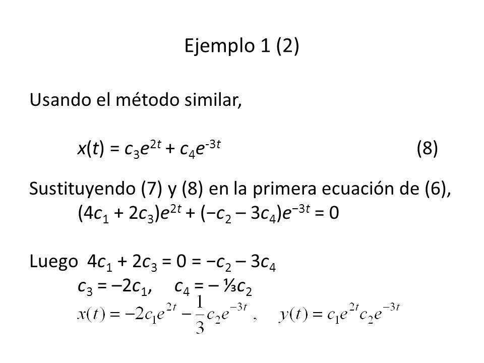 Usando el método similar, x(t) = c 3 e 2t + c 4 e -3t (8) Sustituyendo (7) y (8) en la primera ecuación de (6), (4c 1 + 2c 3 )e 2t + (c 2 – 3c 4 )e 3t = 0 Luego 4c 1 + 2c 3 = 0 = c 2 – 3c 4 c 3 = –2c 1, c 4 = – c 2 Ejemplo 1 (2)