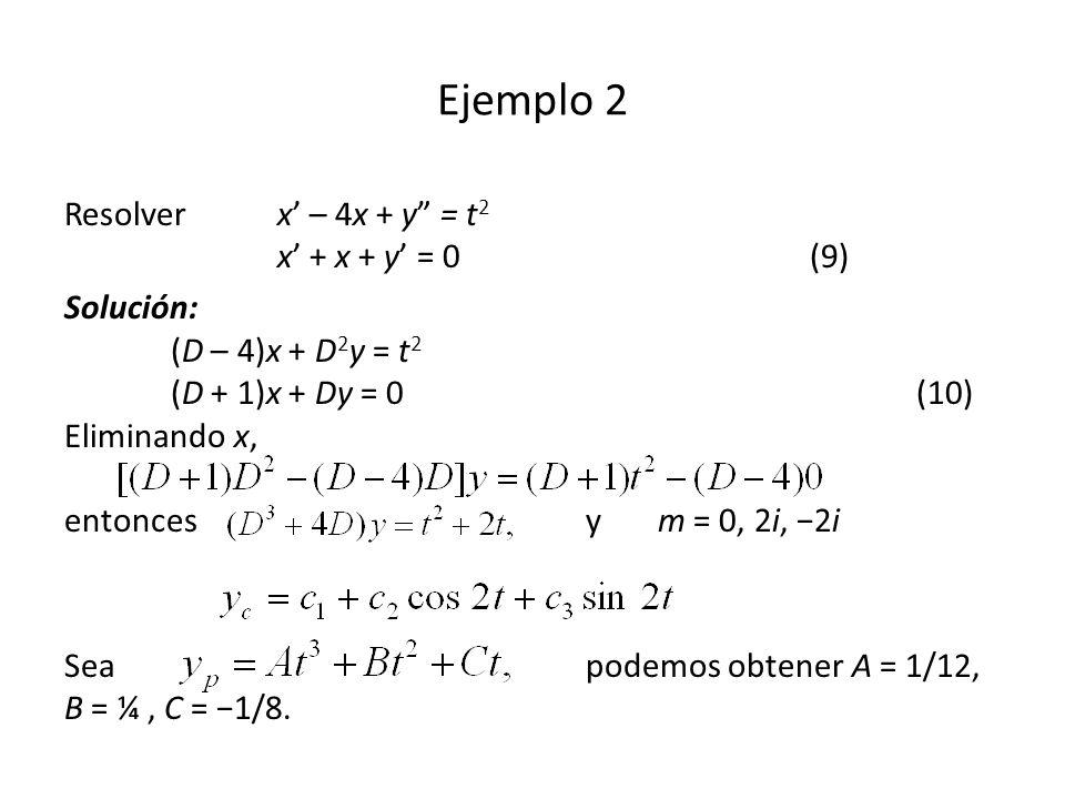 Ejemplo 2 Resolverx – 4x + y = t 2 x + x + y = 0(9) Solución: (D – 4)x + D 2 y = t 2 (D + 1)x + Dy = 0(10) Eliminando x, entonces y m = 0, 2i, 2i Sea podemos obtener A = 1/12, B = ¼, C = 1/8.