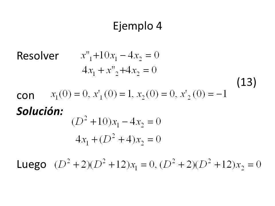 Resolver (13) con Solución: Luego Ejemplo 4
