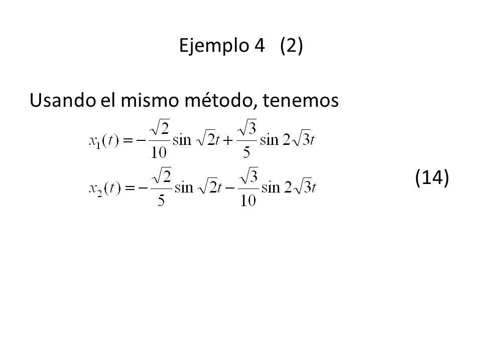 Ejemplo 4 (2) Usando el mismo método, tenemos (14)