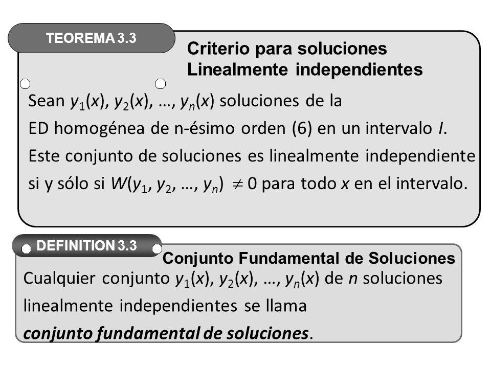 Sean y 1 (x), y 2 (x), …, y n (x) soluciones de la ED homogénea de n-ésimo orden (6) en un intervalo I.