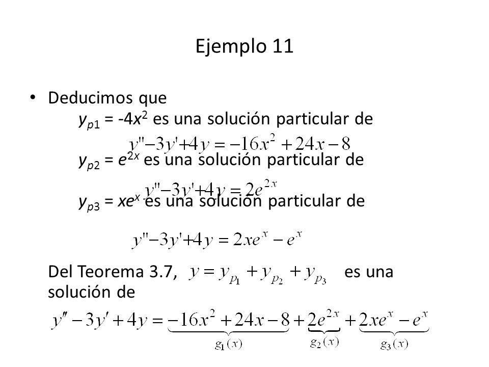 Deducimos que y p1 = -4x 2 es una solución particular de y p2 = e 2x es una solución particular de y p3 = xe x es una solución particular de Del Teorema 3.7, es una solución de Ejemplo 11