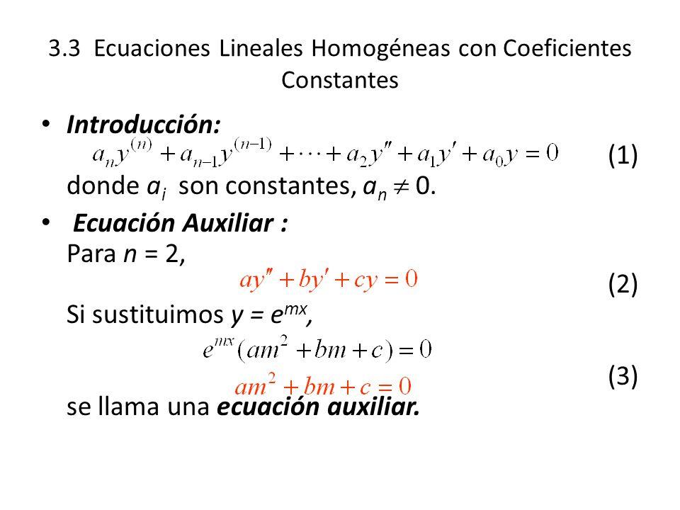 3.3 Ecuaciones Lineales Homogéneas con Coeficientes Constantes Introducción: (1) donde a i son constantes, a n 0.