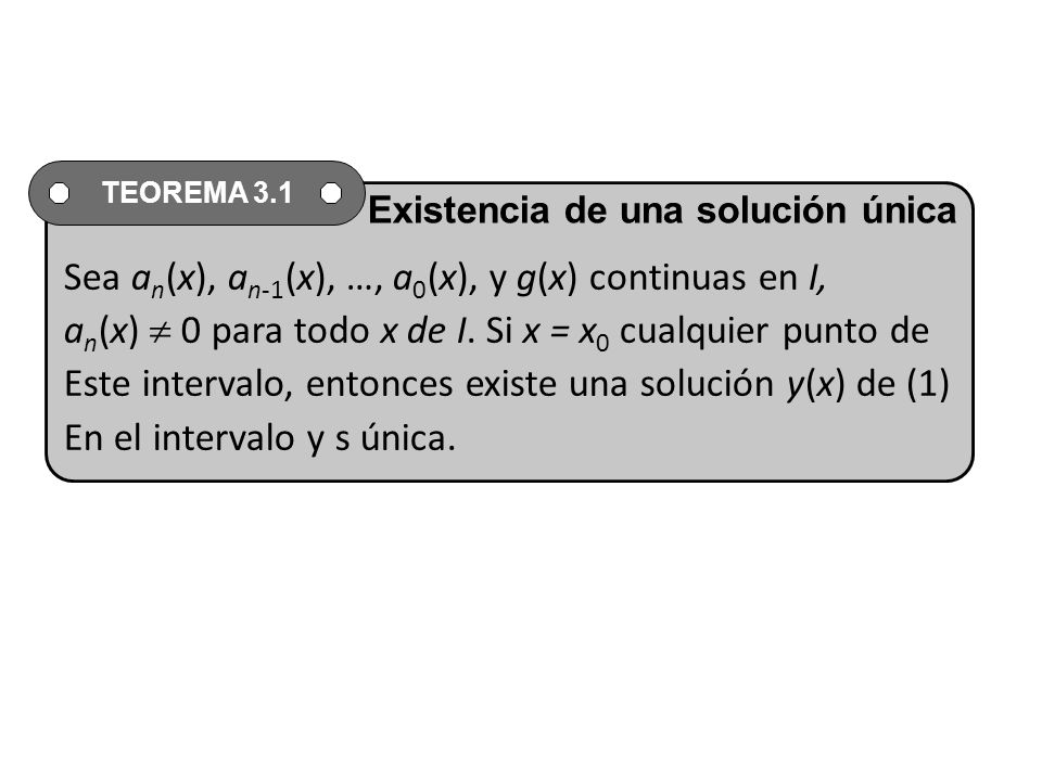 Sea a n (x), a n-1 (x), …, a 0 (x), y g(x) continuas en I, a n (x) 0 para todo x de I.