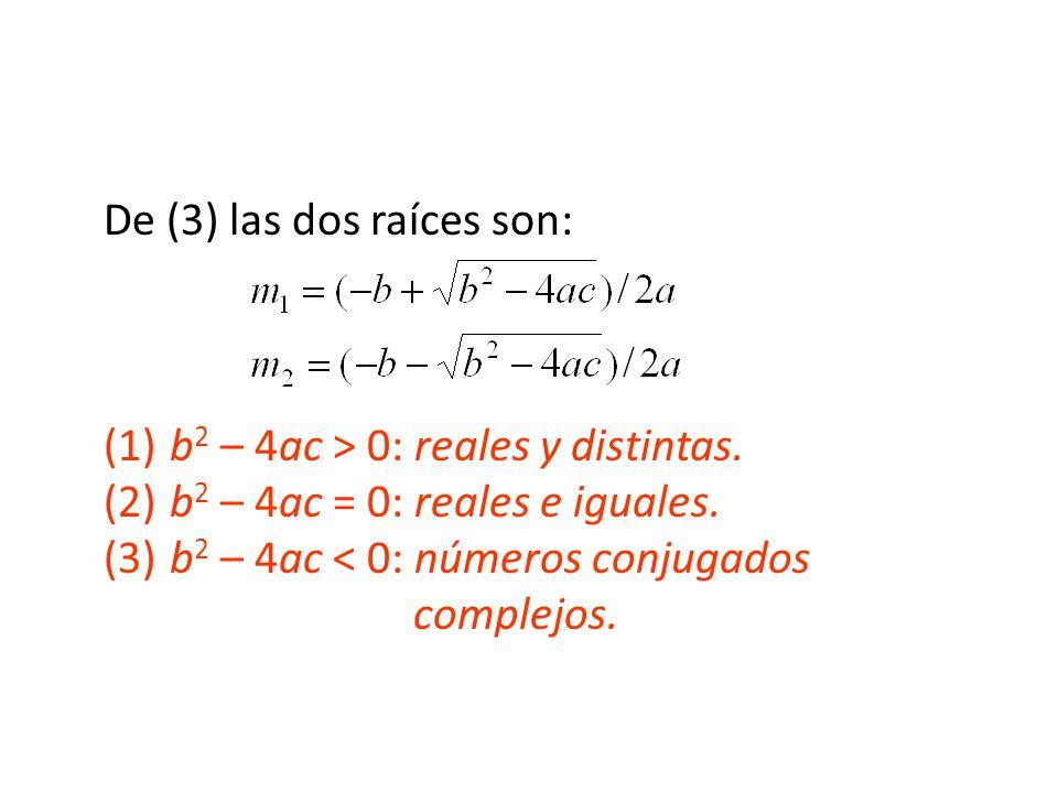 De (3) las dos raíces son: (1)b 2 – 4ac > 0: reales y distintas.