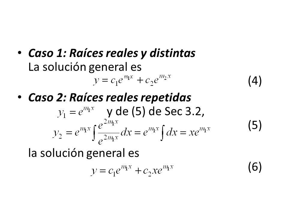 Caso 1: Raíces reales y distintas La solución general es (4) Caso 2: Raíces reales repetidas y de (5) de Sec 3.2, (5) la solución general es (6)