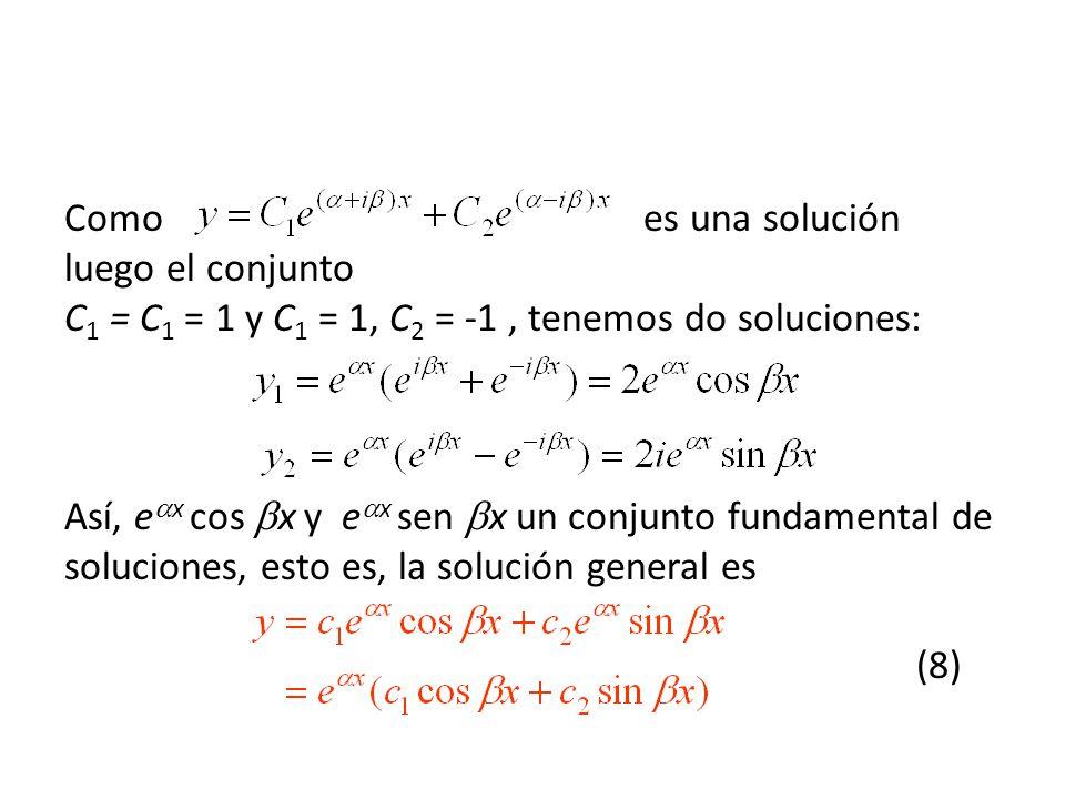 Como es una solución luego el conjunto C 1 = C 1 = 1 y C 1 = 1, C 2 = -1, tenemos do soluciones: Así, e x cos x y e x sen x un conjunto fundamental de soluciones, esto es, la solución general es (8)