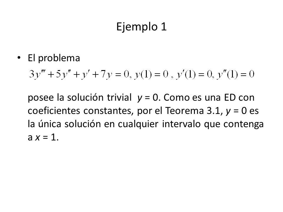 Resolver Solución: We have (m – 1)(m – 3) = 0, m = 1, 3 y c = c 1 x + c 2 x 3, use variaión de parámetros, y p = u 1 y 1 + u 2 y 2, donde y 1 = x, y 2 = x 3 Escribimos la ED como Luego P = -3/x, Q = 3/x 2, f = 2x 2 e x Ejemplo 5